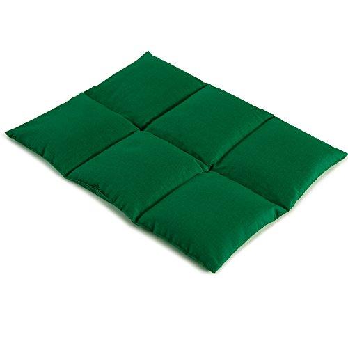 Cojín de semillas de lino | 40x30 verde | Cojín de calor | Para microondas y horno