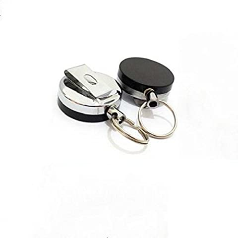 frixie (TM) in metallo retrattile Badge Holder acciaio portachiavi Cintura Clip Pull catena
