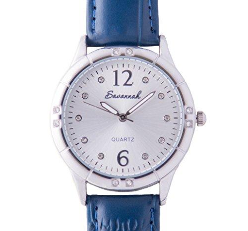 Savannah - Ref: 4821 - Schweizer Design Quarz Damen Uhr mit Ersatzband, Damen Armbanduhr mit blauem Echtleder Band, hochwertig, Geschenkbox, Elegantes Design, Japanisches Qualitäts-Quarzwerk - 36mm