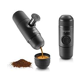Kaffee-Maschine Mini-Thermal-Kaffeemaschine Tragbare manuelle Single-Serve-Kaffeemaschine Outdoor Indoor Black Metal (Farbe : Schwarz)