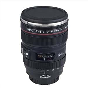 Tasse à café mug en forme d'objectif photo modèle 24-105mm en acier inox + pochette cadeau DC117