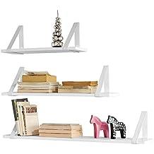 SoBuy® Juego de 3 estantes para pared, Estanterías de pared para CDs y libros, Blanco, FRG29-W, ES