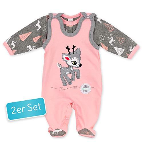 Koala Baby Baby Set Strampler + Shirt rosa grau | Motiv: Reh | Babyset 2 Teile mit Rehkitz für Neugeborene & Kleinkinder | Größe: 12 Monate (80)