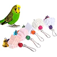 Lunji Piedra de liar con dientes de loro, juguete para morder, para hámster y pájaros, color al azar