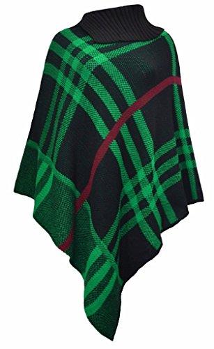 FASHIONCHIC - Poncho - Femme Black & Green Check Print