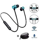 Balock Schuhe Drahtloser Kopfhörer,Bluetooth 4.2 Stereo-Kopfhörer-Headset, Drahtloser Magnetischer In-Ear-Ohrhörer Kopfhörer Mit Mikrofon (Blau)