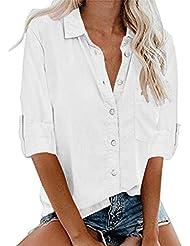 Moda Yvelands Mujeres Top Liquidación Manga Larga Bolsillo Camiseta con Botones Casual Blusa Popular Tops (S-5XL)