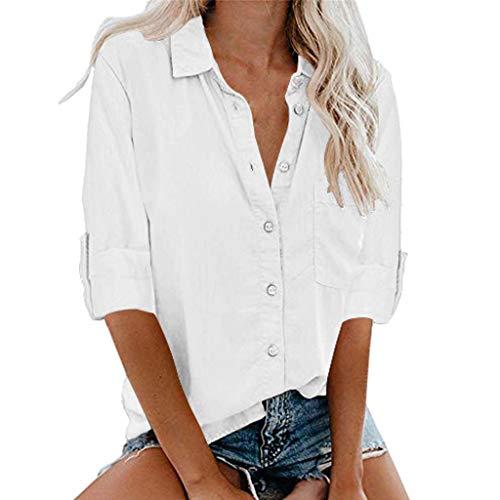 Pageantry Bluse Damen Hemd Mit Knöpfen Baumwolle Freizeit Einfarbig Langarmshirt Business Oberteil V-Ausschnitt Slim Fit Elegant Tunika -