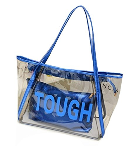 Zicac Grande borsa da spiaggia a tracolla, in PVC trasparente, color caramella, con sacca interna con zip