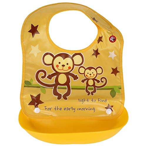 GURU KRIPA BABY PRODUCTS ® Presents Waterproof Silicone Roll up Washable Crumb Catcher Baby Feeding Eating Bibs with Food Catching Pocket (Yellow)