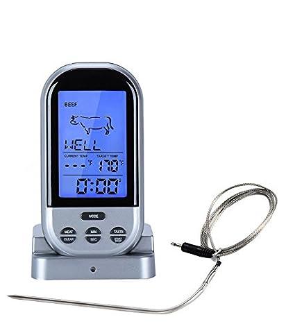 Digital Télécommande sans fil viande Thermometer-remote pour barbecue, fumeur, grill, four, viande Thermometer-larger écran et ajouté Features-silver