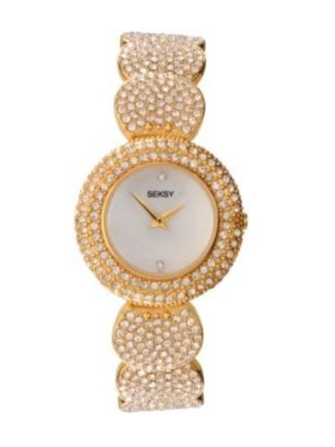 Seksy Wrist Wear by Sekonda Women's Quartz Watch with Mother of Pearl Dial Analogue Display and Gold Coloured Bracelet 4857W.37