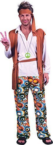 e Frieden Hippie Man Party Kostüm Groovy Blume Outfit - Multi, Chest Size 46