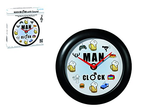 Out of the blue 79/3167 Kunststoff-Wanduhr Man Clock mit Sound für 3 Mignon Batterien (AA), circa 34 cm