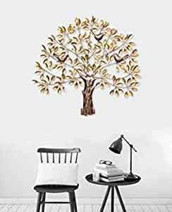Collectible India Metal Tree of Life Wall Hanging Decor for living room Bedroom, Handmade Golden Wall Hanging Art Decor Sculpture Birds Sitting On Branches Modern Artwork Diwali Gifts Home Decor(Size 31 x 28 Inches)