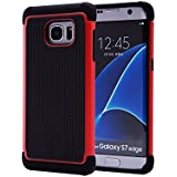 32nd Etui Coque Antichoc Double Couche per Samsung Galaxy S7 Edge Coque de Protection Robuste - Rouge
