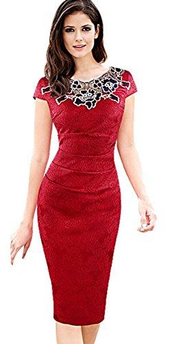 5197c0b187af BELLA Vestito Donna Pizzo Abito Slim con Fiore Rosa Cocktail Vestito