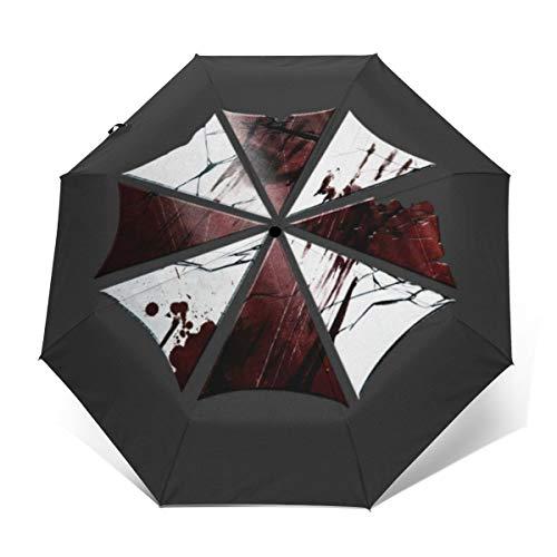 Umbrella Corp Paraguas Plegable Compacto con Logotipo Roto para el Mal de residencia, Resistente al Viento, Apertura automática y Cierre, Paraguas de Viaje Plegable automático