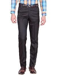American-Elm Men's Black Cotton Blend Formal Trouser
