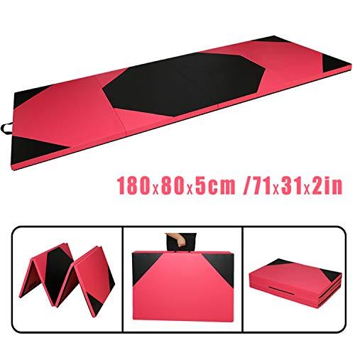 CCLIFE 180x80x5 Rot+Schwarz Weichbodenmatte Turnmatte Klappbar Gymnastikmatte