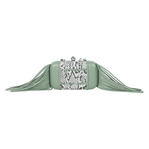 PAINT Women Printed Leather Long fringes Python skin clutch in Mint Color(PT2.