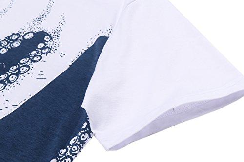 Coofandy Herren Sommer T-Shirt Kurzarm Tee Print Rundhals Freizeit Tops Blau