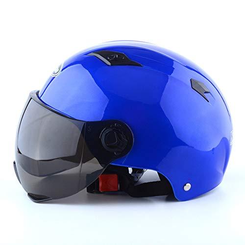 GZH Elektroauto Helm Fahrradhelm Schutzkappe Männer Und Frauen Retro Harley Sommer UV-Schutz Männer Und Frauen Schutzhelm,Blue
