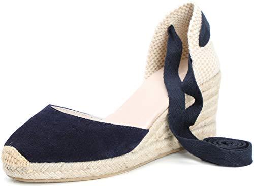 SimpleC Heel Eppers Classic Heel Climbing da Donna con Tallone, Intersuola Naturale alla Caviglia Bianca Scamosciato-2.5' tacchiEU 38.5