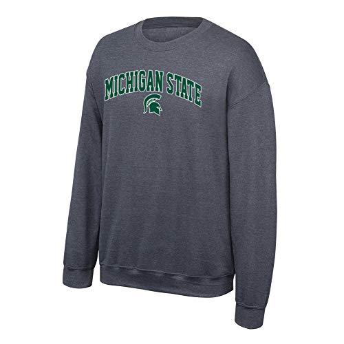 eLITe NCAA Michigan State Spartans Men's Crewneck Arch Sweatshirt, Dark Heather, Medium - Elite-basketball-tasche