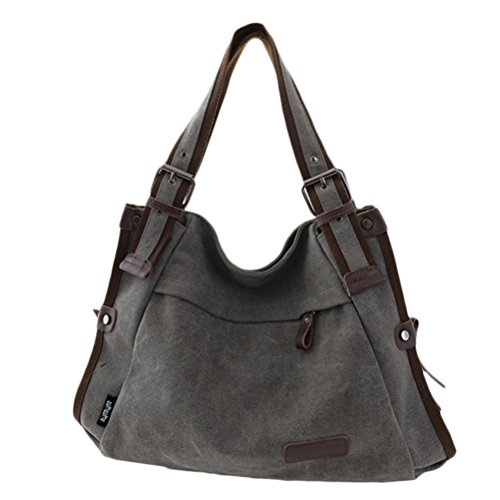 Zhhlaixing Borse di moda Classic Retro Canvas Large Package Characteristic Handbags Zipper Shoulder Bags for Women Gray