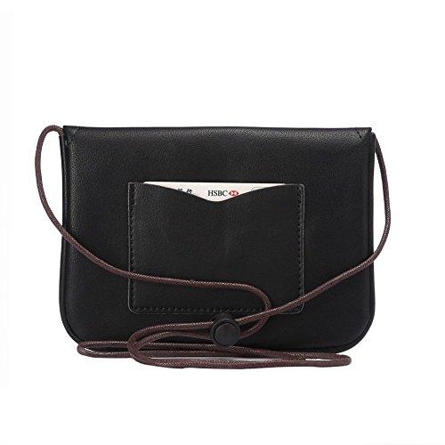 newnet universel en cuir horizontal Version de sac bandoulière sous 18,3cm (6S Plus. 6gplus. a8.n5.n4.s6bord +) Blanc blanc noir - Noir
