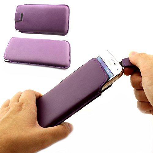 Universal Schutz Tasche Slim Cover Pull Tab Hülle passend für Apple iPhone 6 /6s, Samsung Galaxy S7, S6, S6 edge, S5 und viel mehr … ScorpioCover dunkel lila