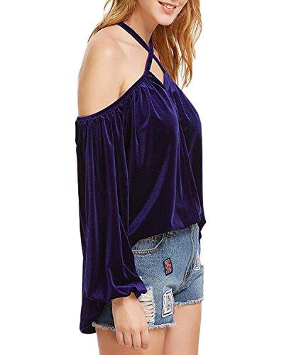 Auxo Femmes Sexy épaule Dos Nu Col Croix Velours Bandage Lantern Manches Lâche T-shirt Hauts Tops Royal