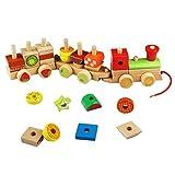 Legno Costruzioni Trenino Forme Geometriche Legno Bambini Tirare il Giocattolo per Bambini 3 Anni,30 Pezzi