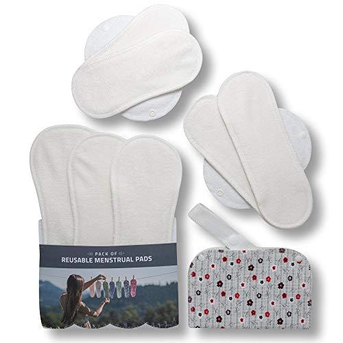 Compresas de tela reutilizables, pack de 7 compresas ecologicas de bambú puro con alas; HECHAS EN LA UE, para menstruación, postparto, incontinencia; compresas lavables organico para mujer