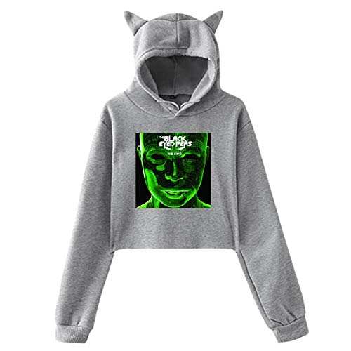 Junioren Long Sleeve Thermal (Cute Pink Piglet Die Black Eyed Peas Die EN D-1 gedruckten Mädchen Hipster Cat Ear Hoodie Sweater Stilvolle graue Sweatshirt Hoodies)