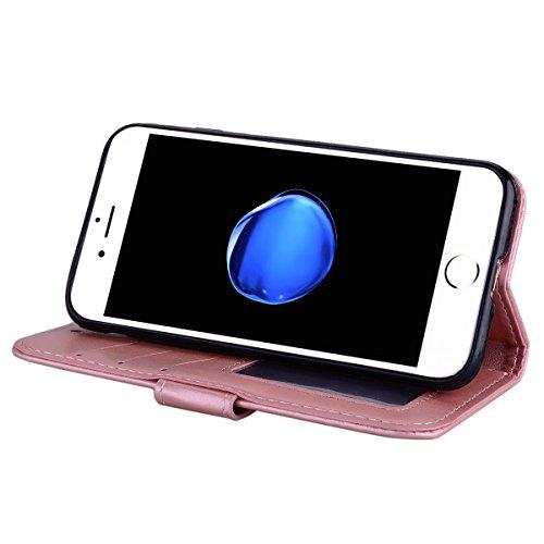 Etui iPhone 7,Coque iPhone 8 , Bling Glitter Licorne Étui Protection Coque Wallet PU en Cuir Housse la Haute Qualité Pochette Anti-rayures Couverture Bumper Rabat Magnétique Antichoc Cuir Véritable Ca Blanc