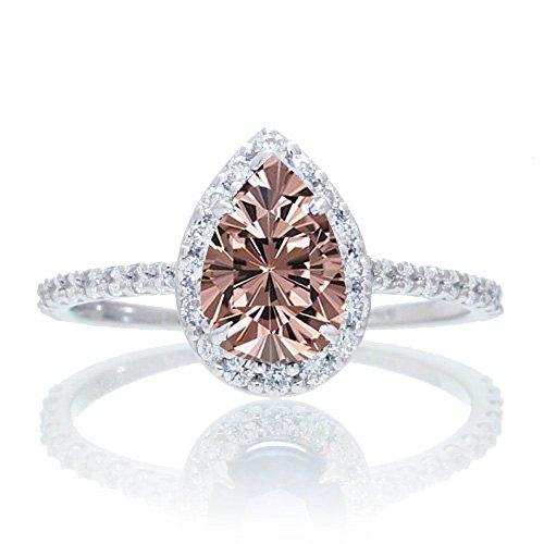 1,5Karat Classic Morganit mit Diamant Tropfenschliff Celebrity Engagement Ring auf 10K Weiß Gold
