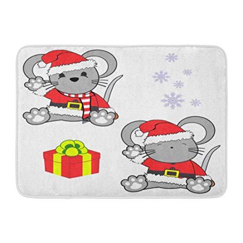 LIS HOME Fußmatten Bad Teppiche Outdoor/Indoor Fußmatte Rot Entzückende süße kleine Baby Maus Cartoon Weihnachtsmann Kostüm in Tier Badezimmer Dekor Teppich Badematte