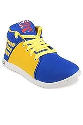 11E Mens Blue & Yellow Casual Shoes ( 11E-HGS5-BLUE-YELLOW-8 ) -Size-8
