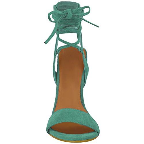 Neuves Pour Femmes Talon Haut Barely There À Lanières Lacets Nœud Sandales Chaussures Pointure Vert Menthe Faux Daim