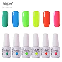 Arte Clavo UV Led Gel Nail Polish Set - 602 8ml 6Pcs Glossy Varnish Gel Lacquer Pure Pastel Green Nail Kit for Nail Art Beauty Salon Nail Manicure Pedicure Design SPA Homebeauty Starters Use