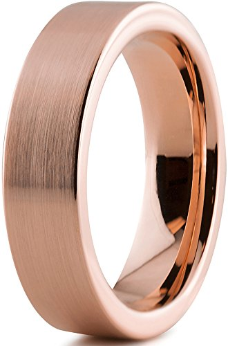 Tungsten Wedding Band Ring 6mm for Men Women Comfort Fit 18K Rose Gold Plated Pipe Cut Flat Brushed Polished Lifetime Guarantee