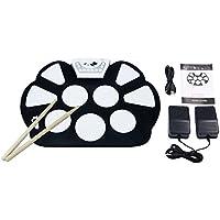 V.TOP Tambour Batterie Electronique de 9-Pad - Drum Pad Kit de Practice Instrument - Pad de Percussion d'Entraînement Pour Les Enfants et Les Amateurs avec Baguettes et Pédales