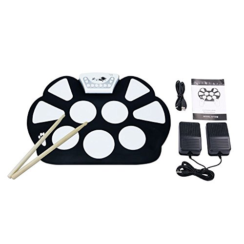 V.TOP 7 E-Drum Kit Tragbar Elektronische Musikinstrument Roll up Drum Pad Kit Silicon Faltbare - e-Drumpad Set mit Drumsticks, Pedale und Usb Kabel für Kinder(jungen und Mädchen)Geburtstag Gift (Roland-drum-kit)