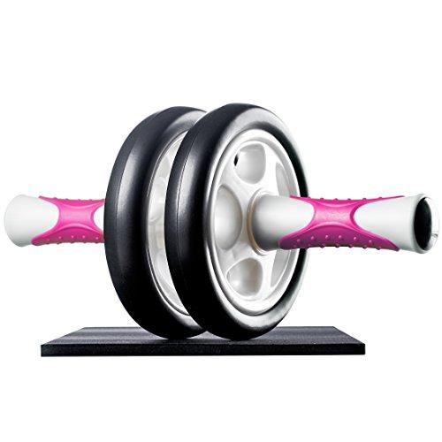 Ultrasport Bauchtrainer ab Roller Handliches Fitnessgerät und Bauchmuskeltrainer – Trainiert Bauch, Muskulatur und Rücken, Pink, OS