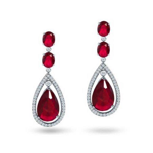 Simulierte Ruby Zirkonia Halo Rot Cz Teardrop Erklärung Ohrhänger Für Damen Schönheitswettbewerb Messing (Hypoallergen Ohrringe Ruby)