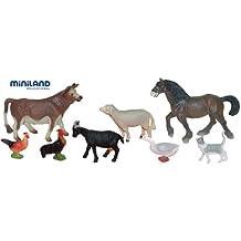 Miniland - Bote con animales de granja, 8 figuras (27423)