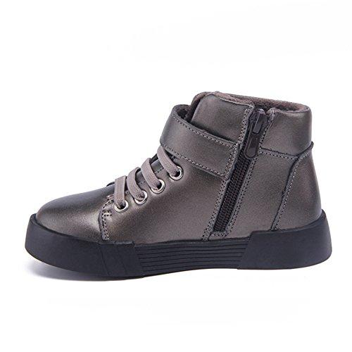 Jovens Crianças Neve Sapatos Laço De Couro Suave Planas Tênis Haste Curta Cinza