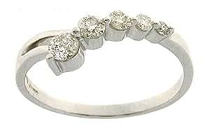 Attractive 18 ct White Gold Ladies 5 Stones Diamond Ring Brilliant Cut 0.50 Carat Size M 1/2